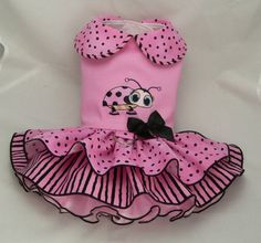 Small dog harness dress.Lady Bug embroidery. 5 layer by poshdog