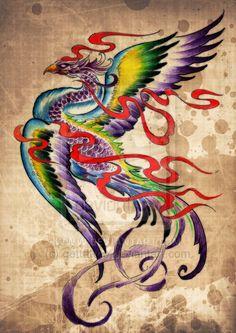 Phoenix tattoo design by gettattoo on DeviantArt, Watercolor Phoenix Tattoo, Tribal Phoenix Tattoo, Small Phoenix Tattoos, Tribal Sleeve Tattoos, Girly Tattoos, Pretty Tattoos, Mini Tattoos, Body Art Tattoos, Phoenix Design