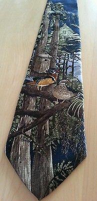 Mallard Duck Necktie Red Forest Trees Field Wear All Silk 4x58 USA EUC