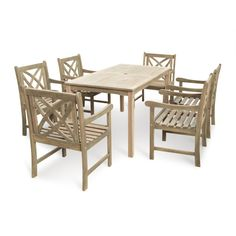 Vifah Renaissance Eco-friendly 7 Piece Outdoor Hand-scraped Hardwood Dining Set with Rectangle Table and Arm Chairs : Target Outdoor Dining Set, Outdoor Tables, Outdoor Decor, Patio Dining, Patio Table, Dining Table, Hand Scraped Hardwood, Wooden Patios, Patio Furniture Sets