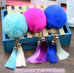 Gold Tassel Rex Rabbit Fur Ball Keychain fluffy keychain fur pom pom llaveros portachiavi porte clef Key Ring Key Chain For Bag