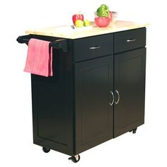 Kitchen Cabinets Ideas | Sammons Kitchen Island with Wood Top Black * Continue to the product at the image link. Note:It is Affiliate Link to Amazon. #ModernKitchenCabinetsIdeas