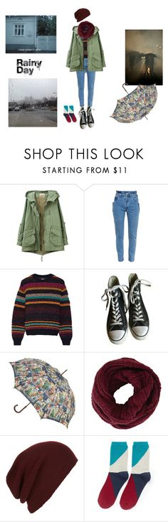 """""""rainy day"""" by angeladesantis ❤ liked on Polyvore featuring Vetements, Just Cavalli, Converse, Cath Kidston, BCBGMAXAZRIA, Topman and Hansel from Basel"""