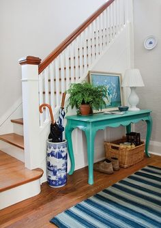 Paint our table like that a fun color?! // Paint Color: MSL Araucana Teal (MSL136) // Designer: Michael Penney // Photographer: Donna Griffith // Canadian House & Home June 201