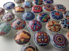 hand decorated Talavera drawer knobs