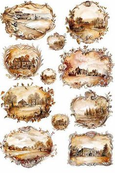 Landscapes in a Sepia color on this decoupage rice paper from Calambour Italy. Vintage Tags, Vintage Labels, Vintage Prints, Decoupage Vintage, Vintage Paper, Images Victoriennes, Free Images, Love My Dog, Etiquette Vintage