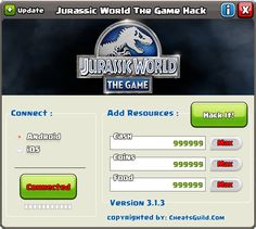 With Jurassic World The Game Hack you can hack Unlimited Free Coins, Food, DNA and Cash. Jurassic World The Game Hack software can be run only on Mac And PC systems. Jurassic World The Game Tool supports iOS (includes iPhone, iPad, iPod Touch), Android (smartphones and tablets) and Windows (smartphones and tablets).