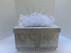 Platinum Bling Silver White  Wedding Card Box by SweetJonesin
