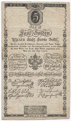 5 GULDEN 1806 (BANCO ZETTEL) Österreich Austria, Vintage World Maps, History, Pentagon, Notes, Money, Harp, Sailboats, Childhood Memories