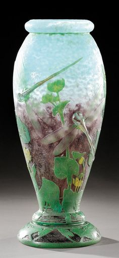 """DAUM NANCY Exceptional and rare vase, baluster form with collar and ringed foot, multilayer molded glass with acid etched decor and wheel ground dragonflies. Signed """"Daum Nancy"""".  Towards 1904  H: 36.5 cm  