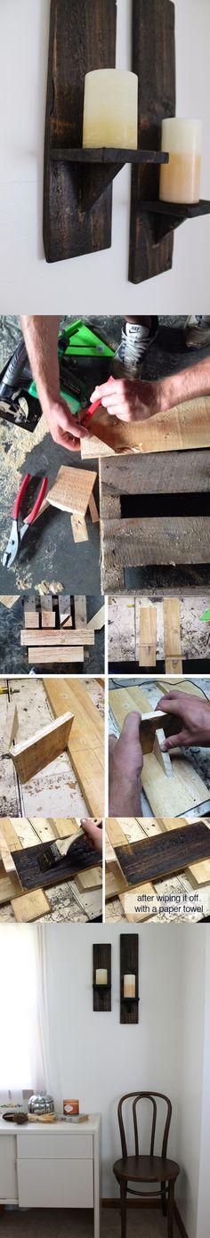 Portavelas rústicos realizados a partir de madera de palé - Muy Ingenioso