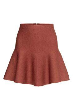 Saia de malha em mistura de lã   H&M