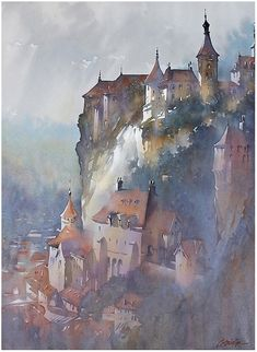 Fading Light - Rocamadour, France by Thomas W. Schaller Watercolor ~ 30 inches x 22 inches