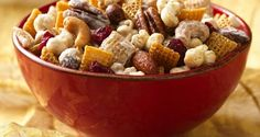 Holiday Caramel Chex Mix - Caramel corn is the inspiration for this party mix that also invites nuts and cranberries. As easy as it is delicious, it's done in the microwave in 15 minutes. #WinCoPinToWin #ChexMix