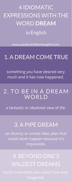 English idioms. Who doesn't love dreaming?