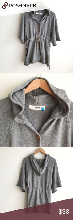 Sparrow Button Cardigan with Zipper Hoodie Tie 90% cotton, 10% wool.  Button front sweater with oversized hood with exposed zipper.  Ties on the sides to control fit at waist.  Open pockets.  Wide, loose half sleeves.  Excellent condition. Anthropologie Sweaters Cardigans