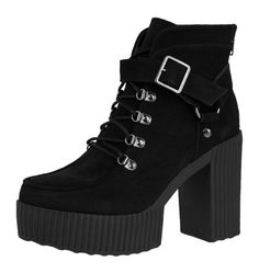 T.U.K. Shoes, Buckle Suede Yuni Platform Boots, $140.00, available at NYLONshop.