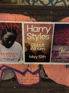 "April 29: Promo posters for ""Harry Styles"" in Manchester and Shoredich. (© @harryscurls and @lauragemmapioli)"