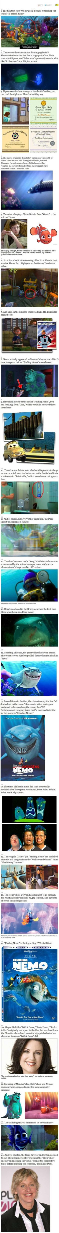 Facts About Finding Nemo! MY FAVORITE PIXAR MOVIE EVER!!!! :D I actually knew some of these. Totally worth reading