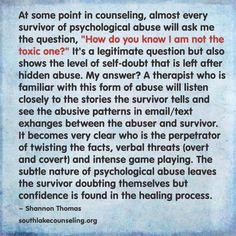 "Survivors often ask, ""Am I the toxic one?"""