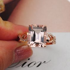 7x9mm Emerald  cut Morganite ring 14K Rose Gold by 4YOURSELF, $539.00