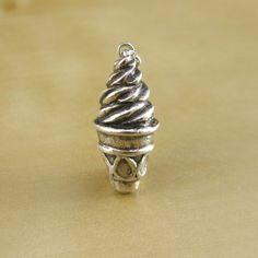 Ice Cream Cone Sterling Silver Charm