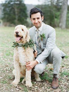 Wedding wreath dog