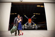 Vintage pin-up-style military engagement photos