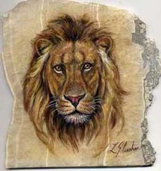 Lion - rock art painting