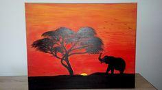 Pictura acrilic..apus de soare Africa