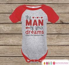 Boy's First Valentines Day Outfit - Red Raglan Shirt - Boy 1st Valentine Onepiece - Valentine Top for Baby Boys - Valentines Raglan Tee - 7 ate 9 Apparel