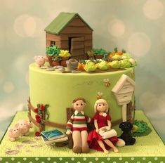 Garden cake with shed, vegetables, beehive, bees, pigs, couple, dog, rugby ball 60th Anniversary Cakes, Beautiful Birthday Cakes, Garden Cakes, House Cake, Novelty Cakes, Cake Creations, Themed Cakes, Some Fun, No Bake Cake