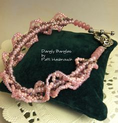 Ogalala stitch bracelet, adapted from a design by Jill Wiseman.   Czech glass rondelles and various sizes of seed beeds.