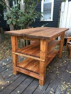 Rustic Kitchen Island - Built by House Food Baby How to Build a Rustic Kitchen Island - tutorial and materials list shows how to build this versatile farmhouse work surface - via Ana White - Rustic Kitchen Island - DIY Projects Furniture Projects, Home Projects, Diy Kitchen Projects, Garden Projects, Rustic Furniture, Diy Furniture, Furniture Plans, Furniture Stores, Diy Kitchen Furniture