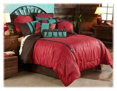 Cheyenne Red Collection Comforter Set - Super Queen 7 Piece Bed Set