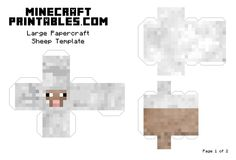 Minecraft Printable Papercraft Sheep Template - Large - Page 1