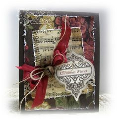 Shabby Torn Edges Christmas Card...with rusty jingle bell & paper ornament...Paperie Blooms.