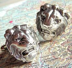 Men's Cufflinks Silver Lion Cufflinks Vintage Inspired BIG