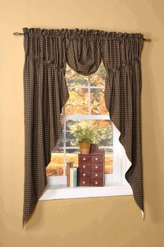 Idea for dining room windows - Home Sweet Homespuns is your online source for made-to-order window treatments with country curtains and draperies that are available in over 140 fabric choices. Primitive Kitchen Decor, Primitive Bathrooms, Country Primitive, Country Sampler, Country Window Treatments, Kitchen Window Treatments, Curtains And Draperies, Shower Curtains, Swag Curtains