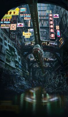Cyberpunk Images — Obvs not Manhattan, but a. Cyberpunk City, Cyberpunk Kunst, Cyberpunk Aesthetic, Futuristic City, Sci Fi Fantasy, Fantasy World, Science Fiction Kunst, Space Opera, Sci Fi City