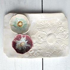 Ceramic serving tray white  platter Hand Built ceramic by MarciG, $24.00