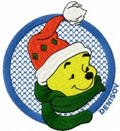 winnie pooh free christmas embroidery. Machine embroidery design. www.embroideres.com