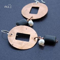 Handcrafted Natural Oxidized Copper Discs by EVIsMetalworkJewelry, €24.00
