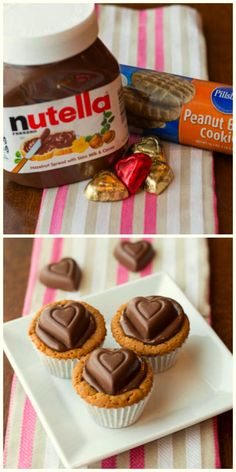 Nutella Peanut Butter Cups.  A quick and easy treat for Valentine's Day | Two in the Kitchen