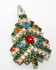 Vintage Rhinestone Christmas TREE pin BROOCH clear green red blue costume  #unsigned
