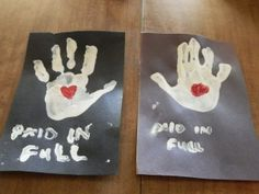 Paid In Full Handprint Art similar to one a pinner had uploaded but we added a heart in the center because Jesus died for us because He loved us. By The Ministry Mama