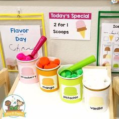 Ice Cream Dramatic Play - Pre-K - Pretend Play Ice Cream Shop. Use deli containers to create ice cream tubs, fill with colored pom po - Play Ice Cream, Ice Cream Tubs, Ice Cream Theme, Ice Play, Water Play, Dramatic Play Themes, Dramatic Play Area, Dramatic Play Centers, Preschool Dramatic Play