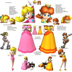 Differences between princess Peach and princess Daisy.