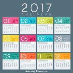 colored 2017 Modelo de calendário Vetor grátis