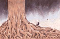 """Tree seeker n.2"" pencil illustration by Sarah Khoury, 2014"